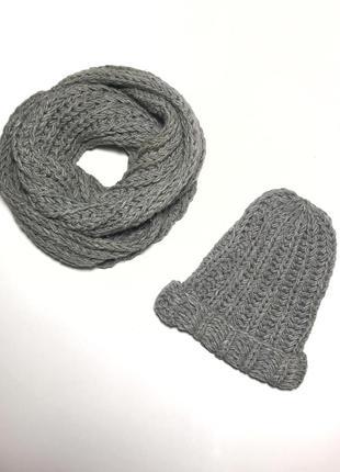 Зимний набор комплект шарф хомут + шапка вязка косами