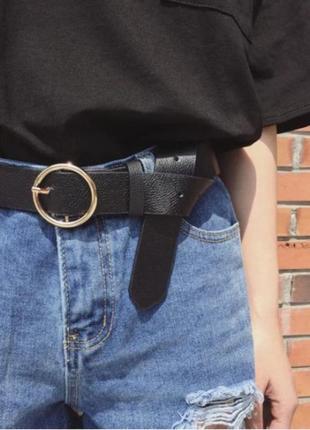 Пояс ремень кожаный с круглой бляхой пряжкой унисекс ретро винтажный из натуральной кожи