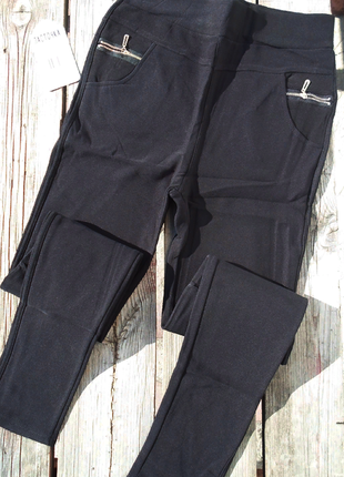 Черные  теплые повседневные штаны брюки леггинсы на меху   м,л,хл