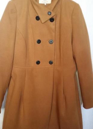 Шикарное рыжее пальто zara с воротником стойкой