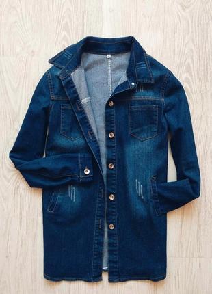 Классная удлиненная джинсовая куртка-рубашка с карманами h&m