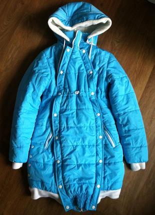 """Продам теплую зимнюю курточку для беременной """"на сносях"""" 42,s."""