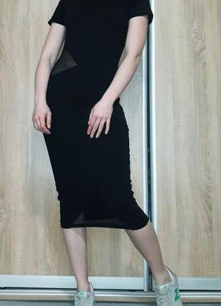 Необычное плотное платье миди со вставками из сетки asos