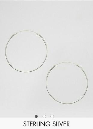 Серьги кольца серебро 35мм от асос