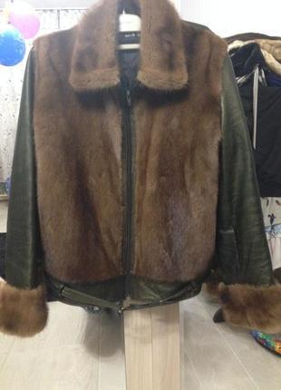 Продам итальянскую шубу куртку норка и кожа vera pelle автоледи норка