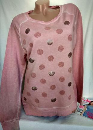Розовый свитшот с пайетками р. м - l, от s.oliver