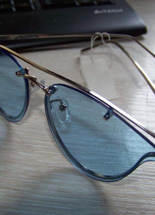 """Солнцезащитные очки мини """"кошачий глаз"""" голубая линза антирефлекс серебристая оправа метал"""