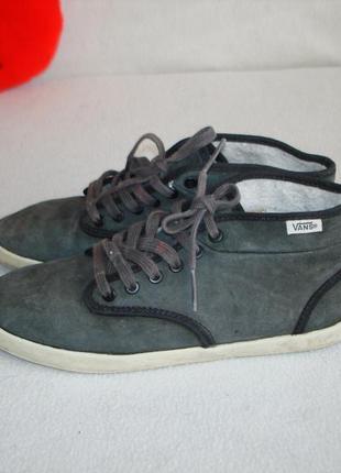 Утепленные кожаные спортивные ботинки кроссовки бренд vans