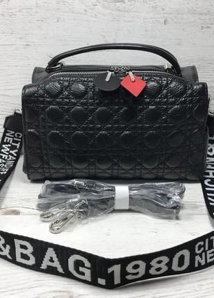 Женская стильная кожаная сумка чёрная клатч