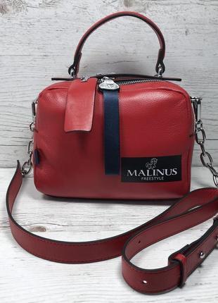 Женская стильная кожаная сумка клатч красная красный