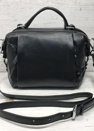 Женская стильная кожаная сумка чёрная клатч чёрный