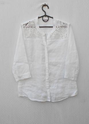 Летняя льняная блузка с кружевной вышивкой с  рукавом 3/4 италия