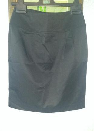 Юбка карандаш классика черная коттон полиэстер