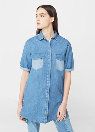 Джинсовая рубашка, туника, платье mango, размер м