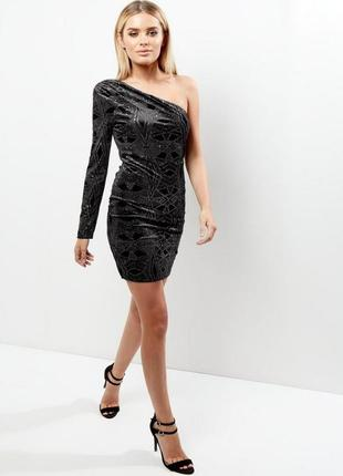 Нарядное вечернее платье на одно плечо, велюровый футляр, коктельное, чехол asos