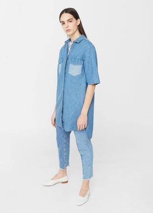 Джинсовая  женская рубашка, туника, платье mango, размер l