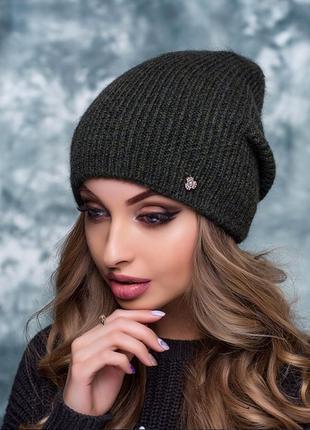 Очень тёплая шапка из мохера и шерсти, внутри флис