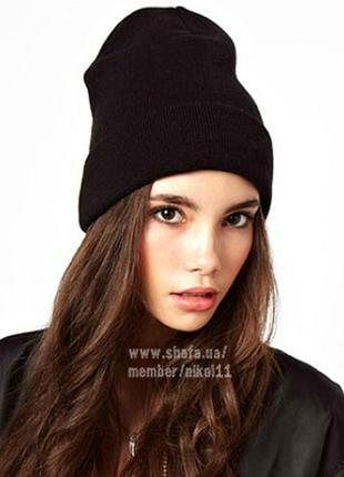 Трендовая черная шапка бини🔥 двойная