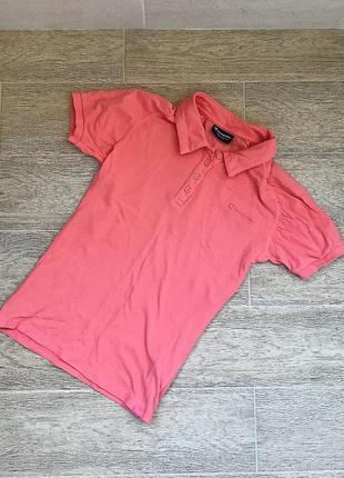Женское яркое поло персикового цвета футболка спортивная champion