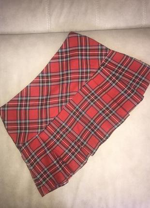 Мини-юбка в клетку,красная юбка