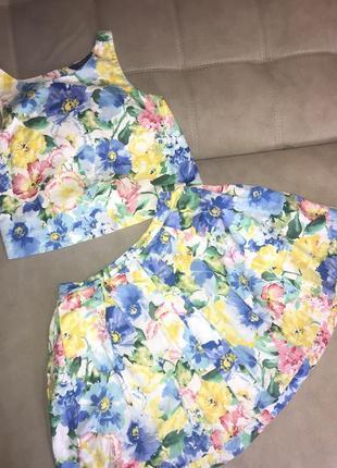 Костюм юбка и топ в цветочный принт