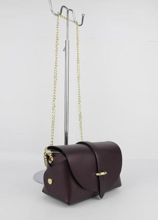Кожаная мини-сумочка borse in pelle 323901-4 марсала перламутр, италия