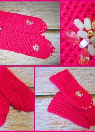 Яркие, модные рукавички для настоящей модницы - hand made