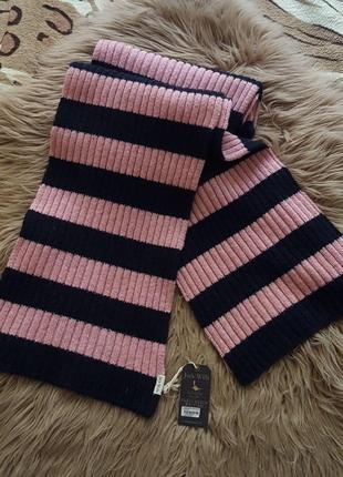 Шарф jack wills,шерстяной шарф,зимний осенний шарф,розовый шарф,шарф в полоску,синий шарф