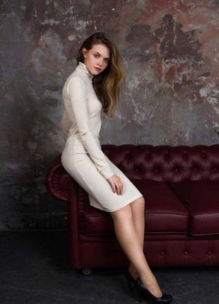 Ангоровое платье миди прямое с длинным рукавом молочного цвета