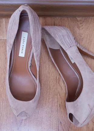 Туфли zara, бежевые туфли на каблуке, замшевые туфли на каблуке zara