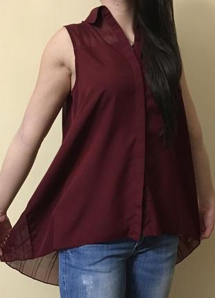 Рубашка цвета марсала zara