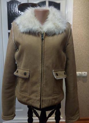 Куртка теплая , дублёнка красивая, размер 44-46