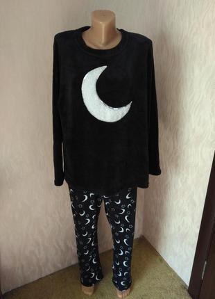 Love to lounge пижама теплая зимняя махровая темно синяя мягкая xl 42 14