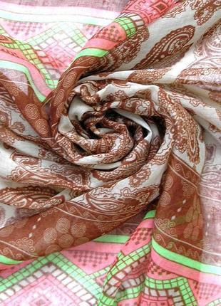Яркий большой палантин шарф, восточные огурцы, -180х92см- новы2