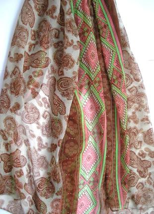 Яркий большой палантин шарф, восточные огурцы, -180х92см- новы3