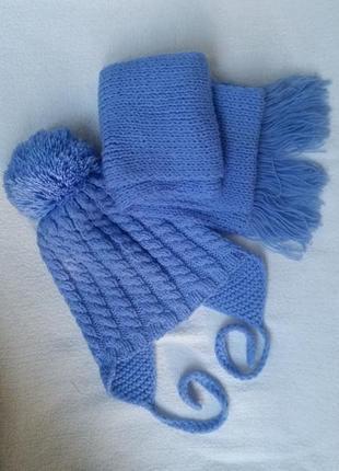 Зимний комплект шапочка шарфик на мальчика 2-3 года