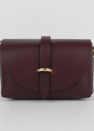 Кожаная мини-сумочка borse in pelle 323901-7 марсала (темно-бордовая), италия