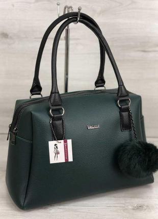 Зеленая женская сумка саквояж