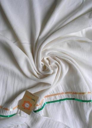 Большой вискозный плотный шарф палантин, кремовый, испания, -174х69см - ,с биркой