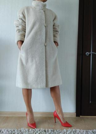Роскошное меховое пальто шуба oversize премиум класса из альпаки германия р 58