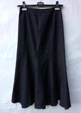 Стильная трендовая джинсовая макси черная юбка а-силуэт с отливом,колекция,кэжуал.