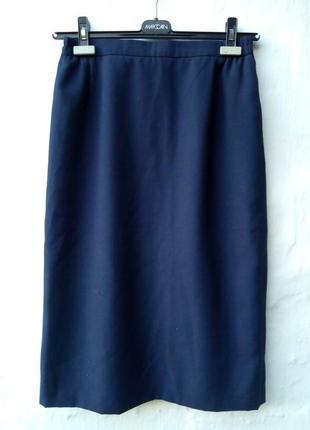 Стильная синяя юбка карандаш миди, бренд люкс,классическая,офисная.