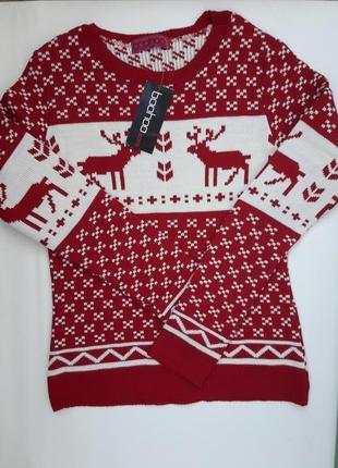 Вязаный молодёжный свитер принт олени бренда boohoo
