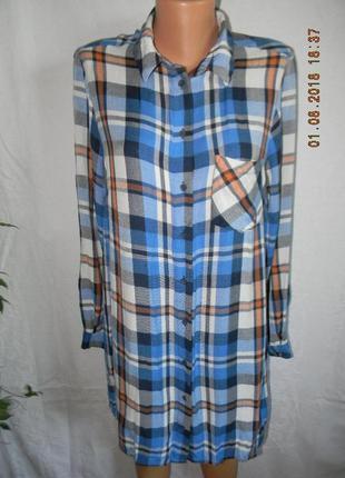 Платье-рубашка в клетку papaya