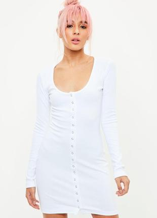 Белое платье в рубчик с кнопками на всю длину  missguided