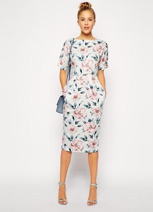 Шикарное платье миди в цветочный принт asos
