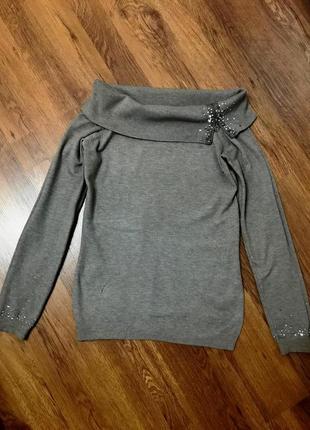 Легкий свитер с открытыми плечами, турция