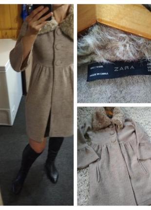 Шикарное стильное шерстяное пальто, zara, p. s-m