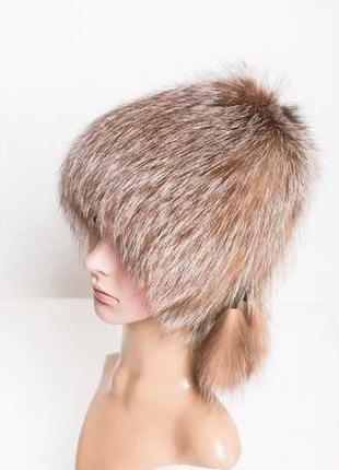 Меховая шапка из чернобурой лисицы