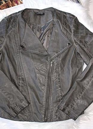 Косуха куртка кожаная (pu кожа) серая george 12р (к033)